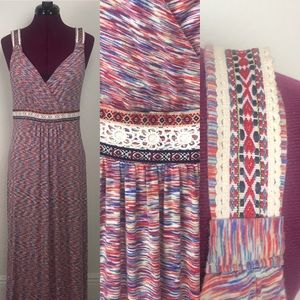 Cable & Gauge maxi embroidered dress size M